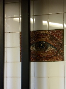 Mosaic Tile Eyes, Chambers Street Subway station, NYC