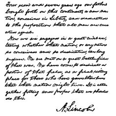 Ol' Honest Abe was down with cursive writing.
